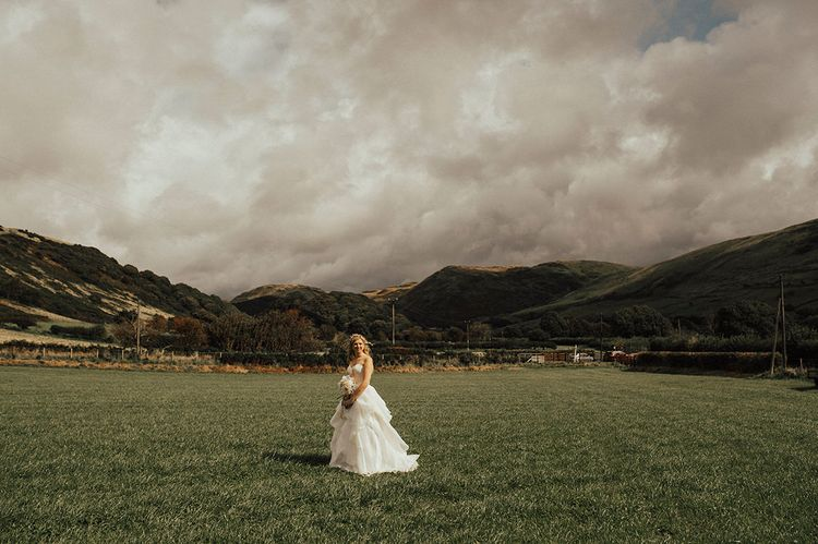 Bride in Layered Organza Gown | Outdoor Festival Beach Wedding at Aberdovey in Wales | Katie Ingram Photography