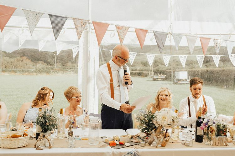 Bunting | Wedding Reception | Outdoor Festival Beach Wedding at Aberdovey in Wales | Katie Ingram Photography