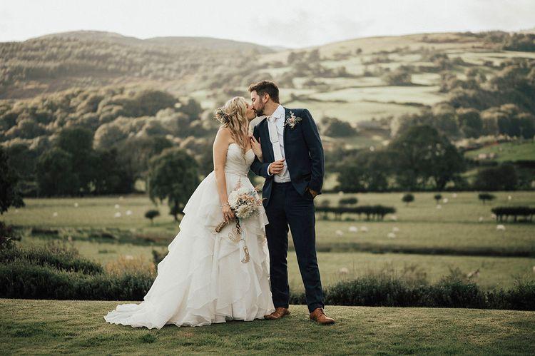 Bride & Groom portrait | Beach Wedding at Aberdovey in Wales | Katie Ingram Photography