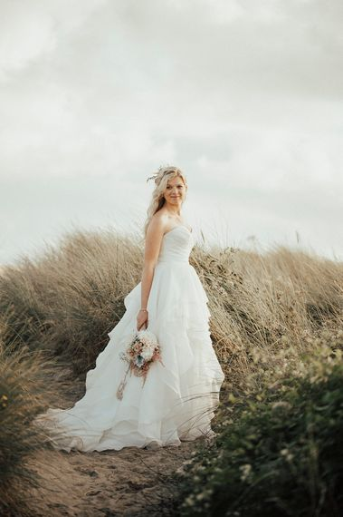 Bride in Layered Organza Gown | Beach Wedding at Aberdovey in Wales | Katie Ingram Photography