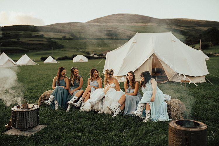 Bride & Bridesmaids | Beach Wedding at Aberdovey in Wales | Katie Ingram Photography