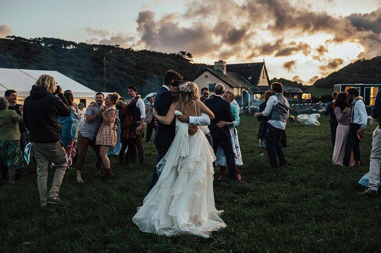 First Dance | Bride & Groom portrait | Beach Wedding at Aberdovey in Wales | Katie Ingram Photography