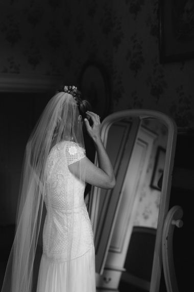 Bride in Cressida Temperley Gown | Rural Wedding in a Sailcloth Tent on Stanford Hall Estate, Northamptonshire | Rebecca Goddard Photography