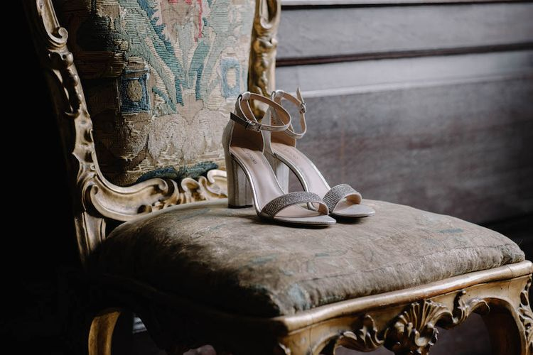 Bridal Shoes | Rural Wedding in a Sailcloth Tent on Stanford Hall Estate, Northamptonshire | Rebecca Goddard Photography