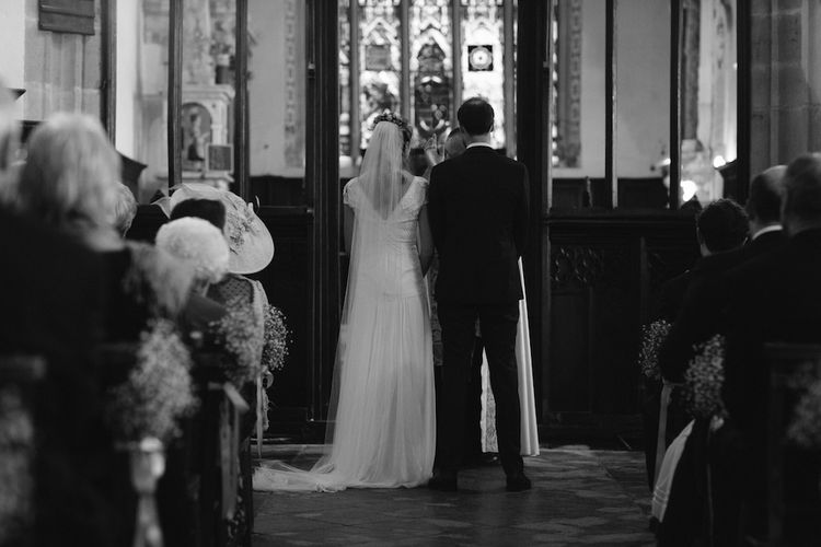Wedding Ceremony | Bride in a Temperley Cressida Gown | Groom in Sandro Suit | Rural Wedding in a Sailcloth Tent on Stanford Hall Estate, Northamptonshire | Rebecca Goddard Photography