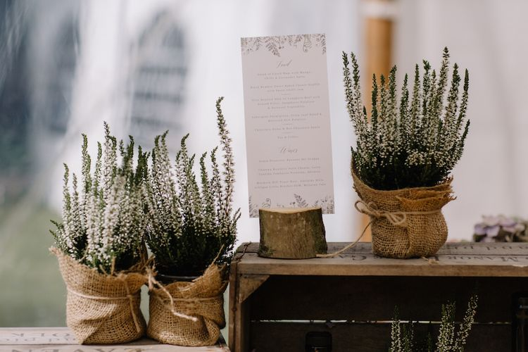 Plant Pots | Rural Wedding in a Sailcloth Tent on Stanford Hall Estate, Northamptonshire | Rebecca Goddard Photography