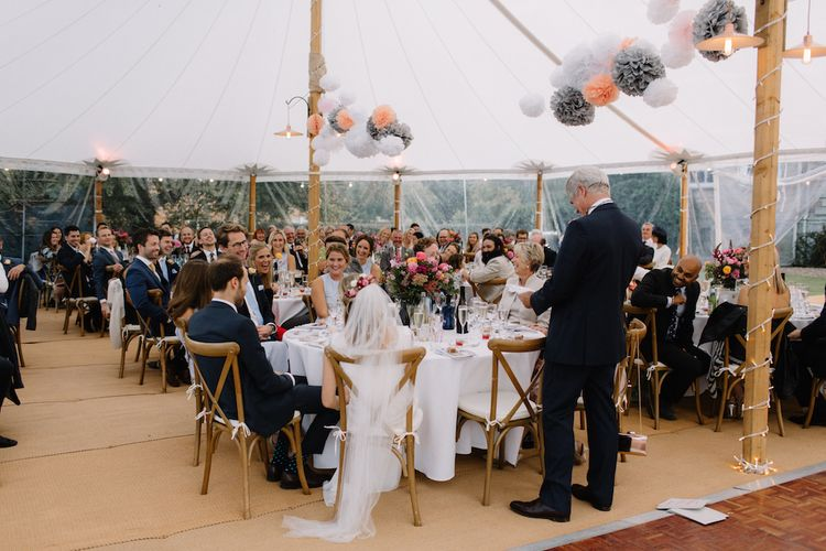 Wedding Reception | Rural Wedding in a Sailcloth Tent on Stanford Hall Estate, Northamptonshire | Rebecca Goddard Photography