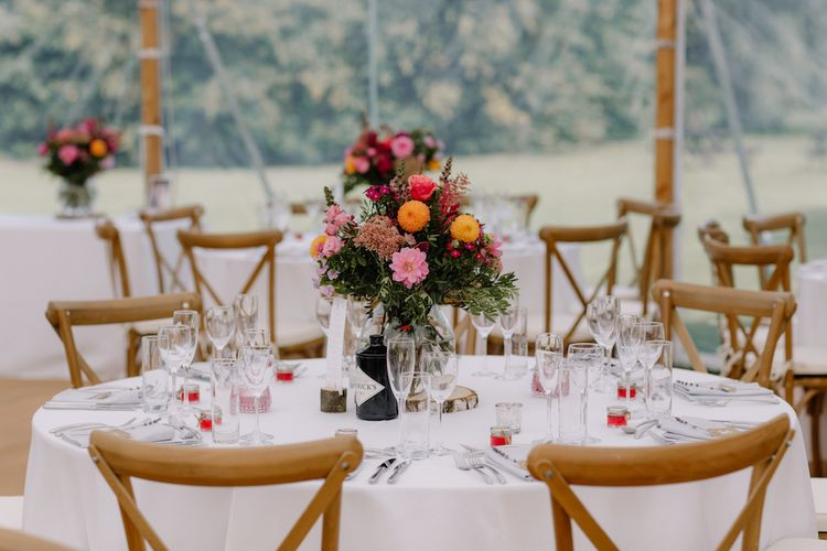 Floral Centrepiece | Rural Wedding in a Sailcloth Tent on Stanford Hall Estate, Northamptonshire | Rebecca Goddard Photography