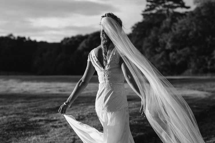 Bride in a Temperley Cressida Gown | Rural Wedding in a Sailcloth Tent on Stanford Hall Estate, Northamptonshire | Rebecca Goddard Photography