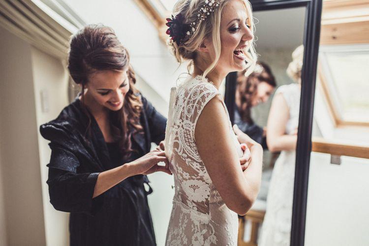 Bride In Claire Pettibone Dress