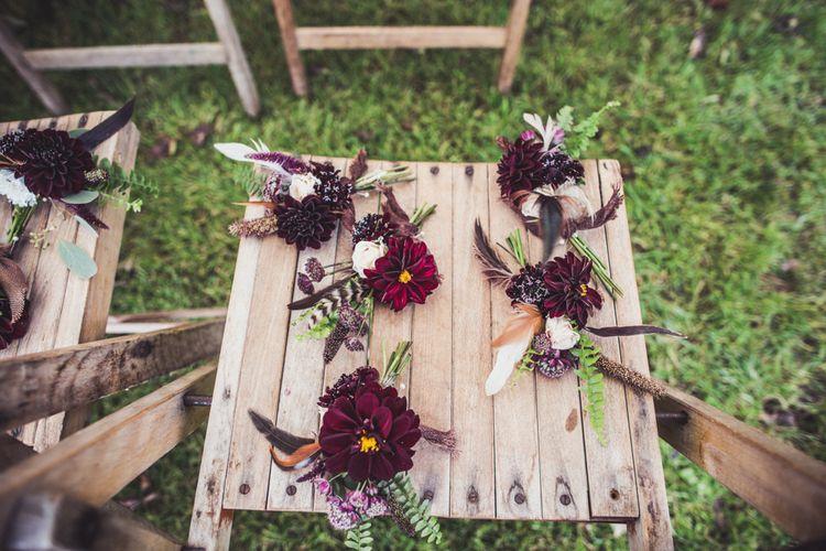 Dahlia Buttonholes For Autumn Wedding