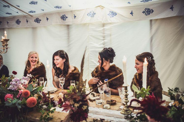 Bridesmaids In Brown Faux Fur Wraps