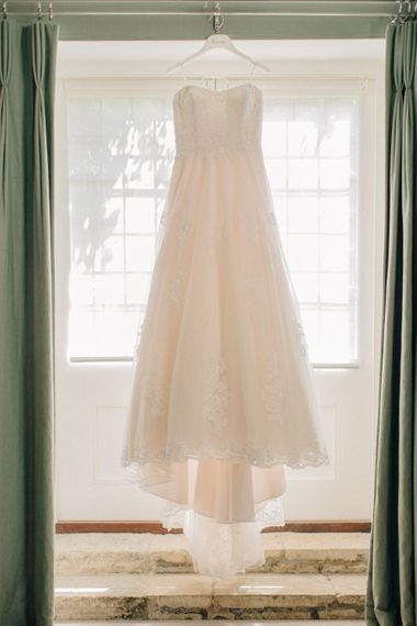Lace Wedding Dress | Outdoor Pastel Country Garden Wedding at Barnsley House in Cirencester | M and J Photography | Motion Farm Wedding Films