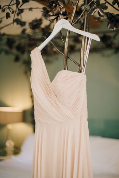 Blush Pink Dessy Bridesmaid Dress | Outdoor Pastel Country Garden Wedding at Barnsley House in Cirencester | M and J Photography | Motion Farm Wedding Films