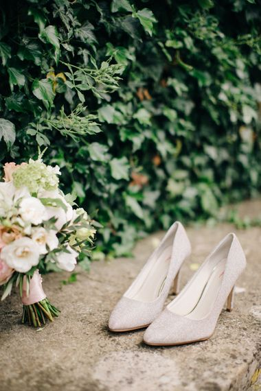 Rainbow Shoes Bridal Shoes | Delicate Bridal Bouquet | Outdoor Pastel Country Garden Wedding at Barnsley House in Cirencester | M and J Photography | Motion Farm Wedding Films