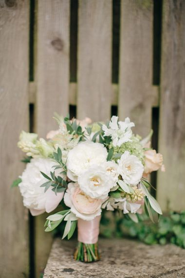 Romantic Pink & White Bridal Bouquet | Outdoor Pastel Country Garden Wedding at Barnsley House in Cirencester | M and J Photography | Motion Farm Wedding Films