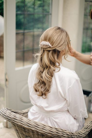 Bridal Half Up Half Down Do | Outdoor Pastel Country Garden Wedding at Barnsley House in Cirencester | M and J Photography | Motion Farm Wedding Films