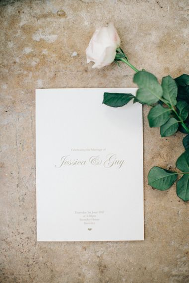 Elegant Emily & Jo Wedding Stationery | Outdoor Pastel Country Garden Wedding at Barnsley House in Cirencester | M and J Photography | Motion Farm Wedding Films