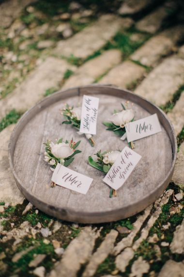 Delicate Buttonholes | Outdoor Pastel Country Garden Wedding at Barnsley House in Cirencester | M and J Photography | Motion Farm Wedding Films
