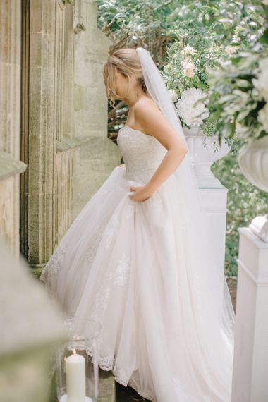 Bride in Romantic Wedding Dress | Outdoor Pastel Country Garden Wedding at Barnsley House in Cirencester | M and J Photography | Motion Farm Wedding Films