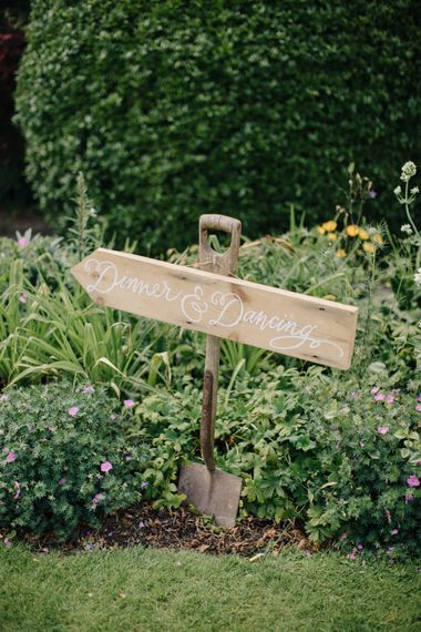 Wooden Wedding Direction Sign | Outdoor Pastel Country Garden Wedding at Barnsley House in Cirencester | M and J Photography | Motion Farm Wedding Films