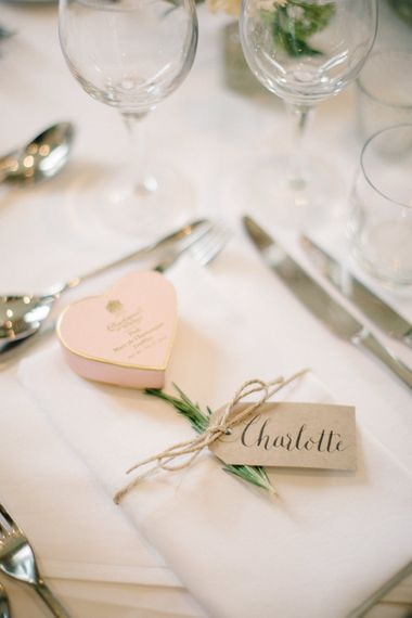 Charbonnel et Walker Truffles Wedding Favour | Outdoor Pastel Country Garden Wedding at Barnsley House in Cirencester | M and J Photography | Motion Farm Wedding Films
