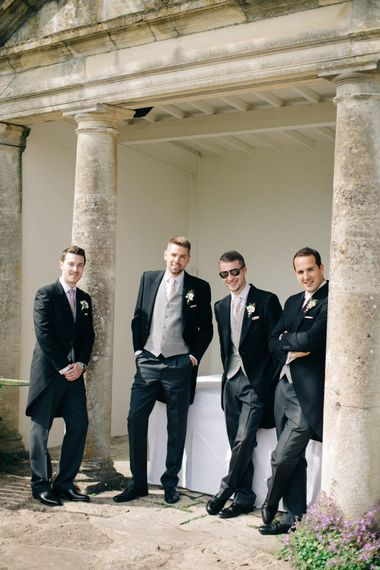 Groomsmen in Morning Suits | Outdoor Pastel Country Garden Wedding at Barnsley House in Cirencester | M and J Photography | Motion Farm Wedding Films