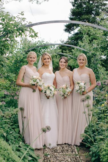 Bridal Party | Bride in Princess Gown | Bridesmaids in Pink Dessy Dresses | Outdoor Pastel Country Garden Wedding at Barnsley House in Cirencester | M and J Photography | Motion Farm Wedding Films