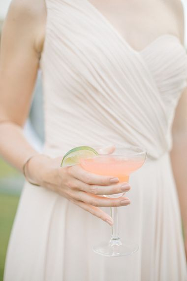 Rhubarb Cocktail | Outdoor Pastel Country Garden Wedding at Barnsley House in Cirencester | M and J Photography | Motion Farm Wedding Films