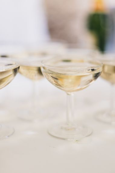 Champagne for outdoor french villa wedding.