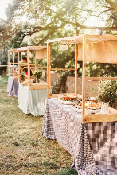 Rustic DIY Food Stalls for this beautiful french Wedding. Photography by Derek Smietana
