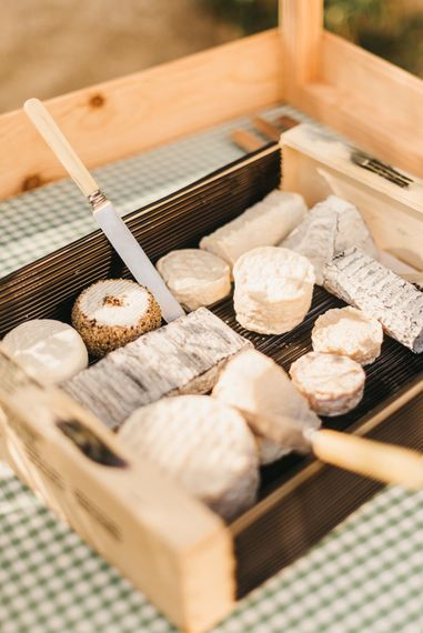 Delicious cheeses from in house caterers at Chateau de Lartigolle