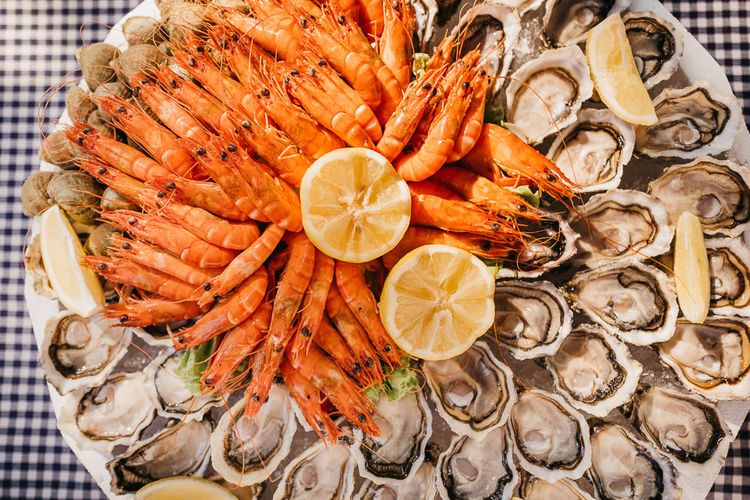 Oysters from Arcachon, Bulots and Crevettes. French food for a french wedding.