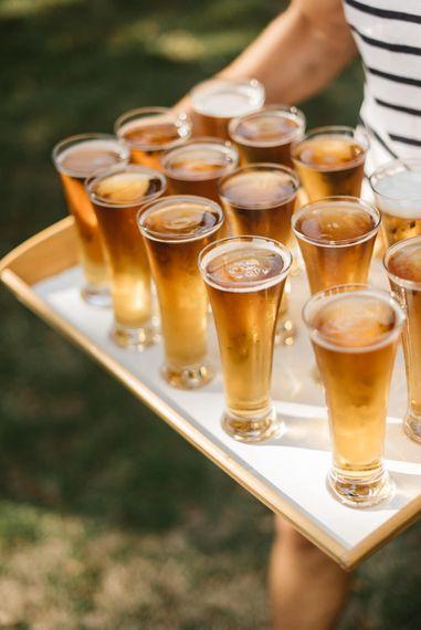 Wedding Drinks on serving platter.