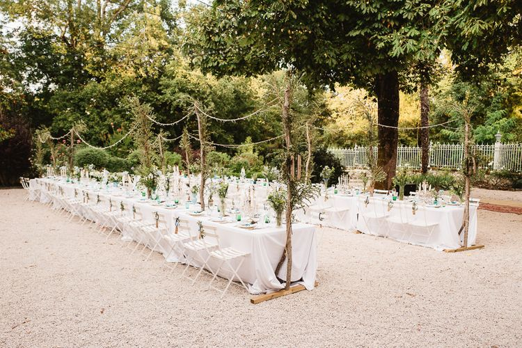 Outdoor Dining. Natural Decor. Wedding Feast in France. Photography by Derek Smietana