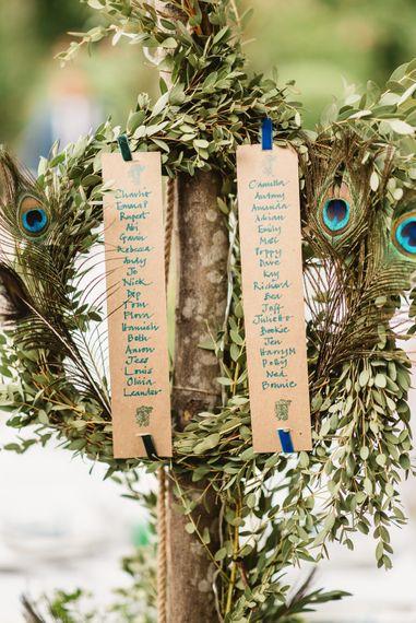 Peacock wedding decor. Table Names.