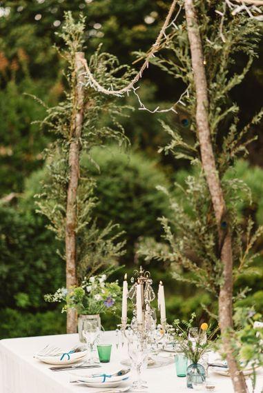 Natural, foliage wedding decor in Chateau de Lartigolle.
