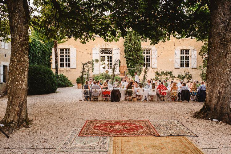 Outdoor Dining. Wedding Feast in France. Photography by Derek Smietana