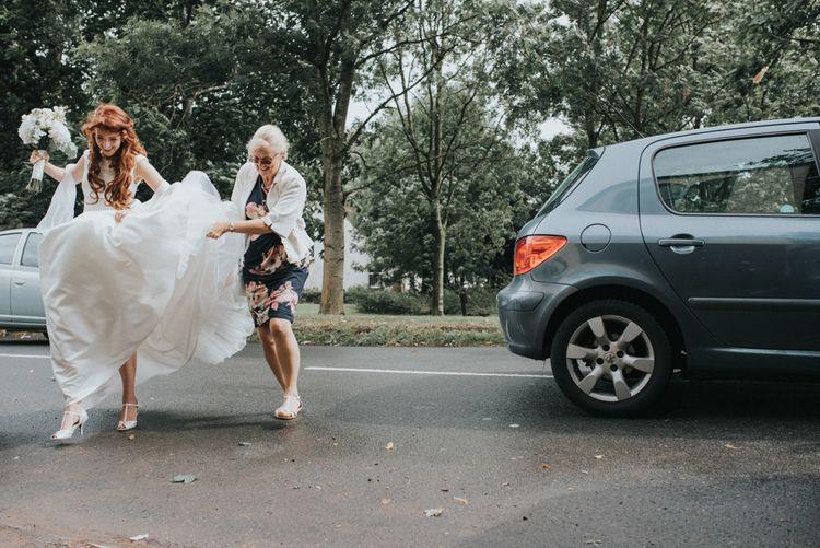 Bride arrival in Lou Lou Bridal Wedding Dress