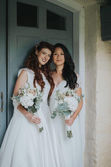 Two Brides in Lou Lou Bridal Wedding Dress & White Leaf Bridal Wedding Dress