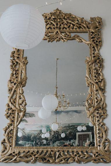 Gold Ornate Mirror Wedding Decor