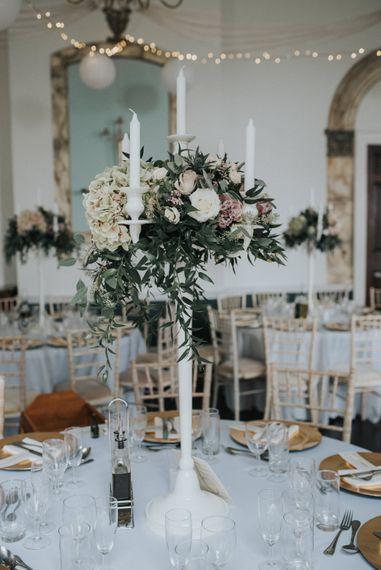 Elegant White Candelabra Centrepiece