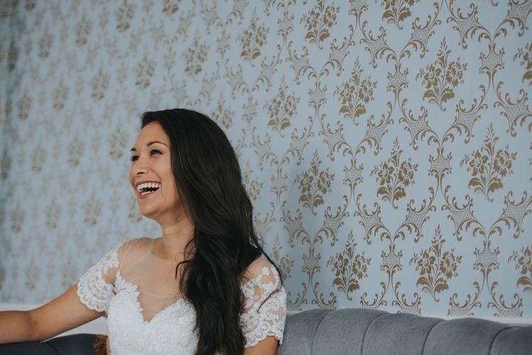 Bride in White Leaf Bridal Wedding Dress