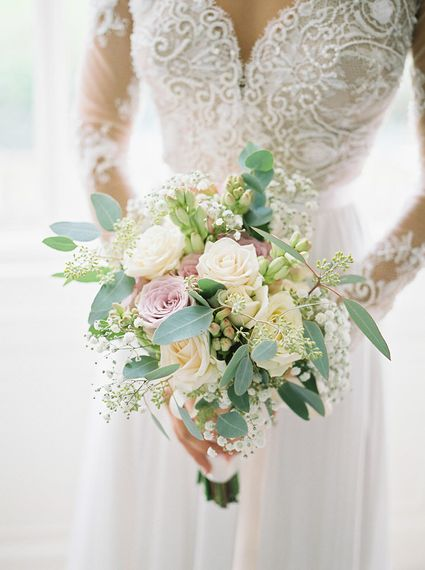 Classic Rose Bridal Bouquet   Bride in Suzanne Neville Camelia Gown   A Romantic Pastel Wedding at Dauntsey Park in the Wiltshire English Countryside   Imogen Xiana Photography