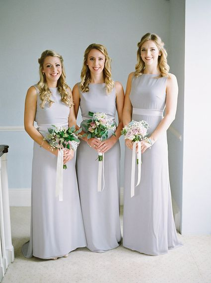 Bridesmaids in Grey Dresses   A Romantic Pastel Wedding at Dauntsey Park in the Wiltshire English Countryside   Imogen Xiana Photography