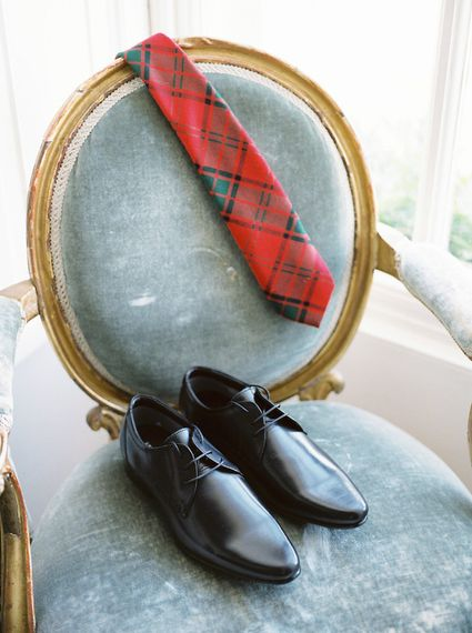 Grooms Tartan Tie   A Romantic Pastel Wedding at Dauntsey Park in the Wiltshire English Countryside   Imogen Xiana Photography