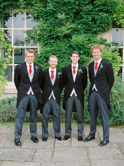Groomsmen in Traditional Tails   A Romantic Pastel Wedding at Dauntsey Park in the Wiltshire English Countryside   Imogen Xiana Photography