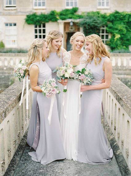 Bridesmaids in Grey Dresses   Bride in Suzanne Neville Camelia Gown   A Romantic Pastel Wedding at Dauntsey Park in the Wiltshire English Countryside   Imogen Xiana Photography