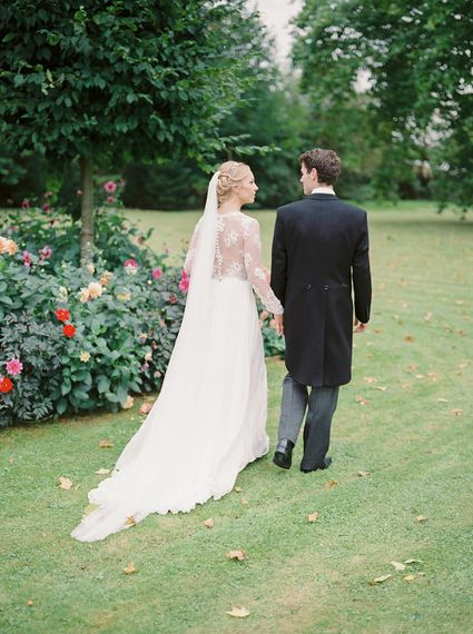 Bride in Suzanne Neville Camelia Gown   Groom in Traditional Tails   A Romantic Pastel Wedding at Dauntsey Park in the Wiltshire English Countryside   Imogen Xiana Photography