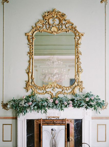 Mantle Piece Floral Wedding Decor   A Romantic Pastel Wedding at Dauntsey Park in the Wiltshire English Countryside   Imogen Xiana Photography